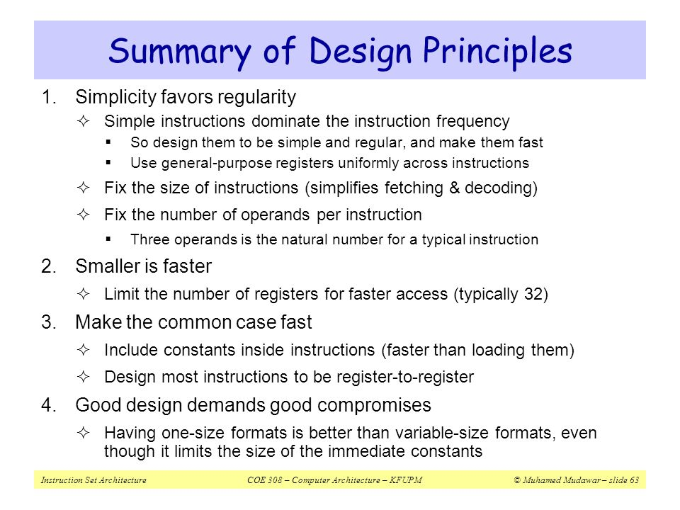 Summary of Design Principles