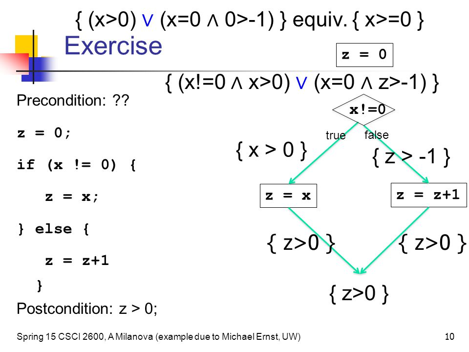 Exercise { (x>0) ∨ (x=0 ∧ 0>-1) } equiv. { x>=0 }