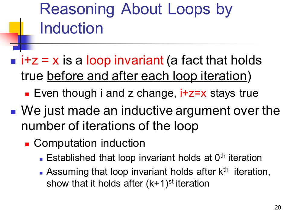 Reasoning About Loops by Induction