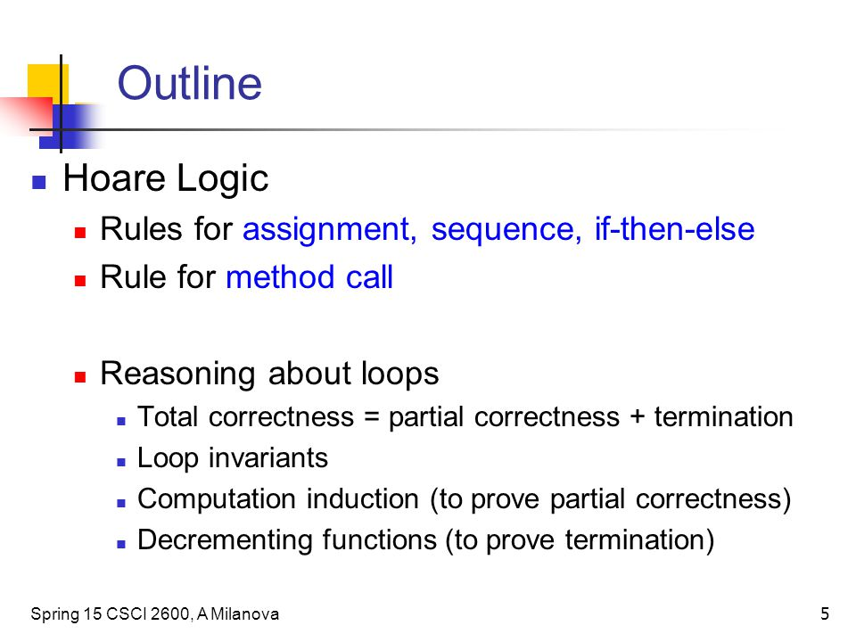 Outline Hoare Logic Rules for assignment, sequence, if-then-else