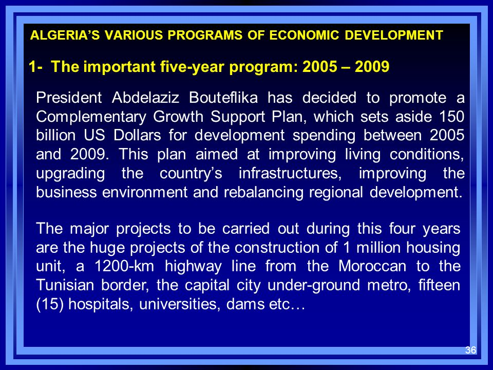 ALGERIA'S VARIOUS PROGRAMS OF ECONOMIC DEVELOPMENT