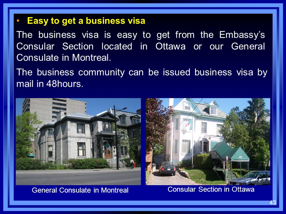 The business community can be issued business visa by mail in 48hours.