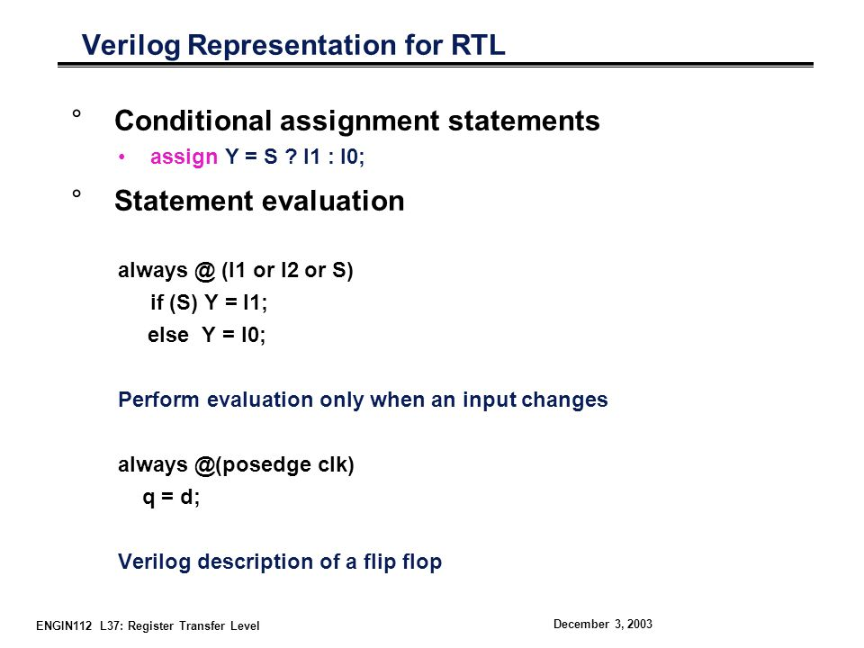 Verilog Representation for RTL