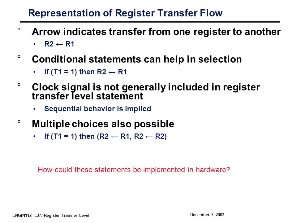 Representation of Register Transfer Flow