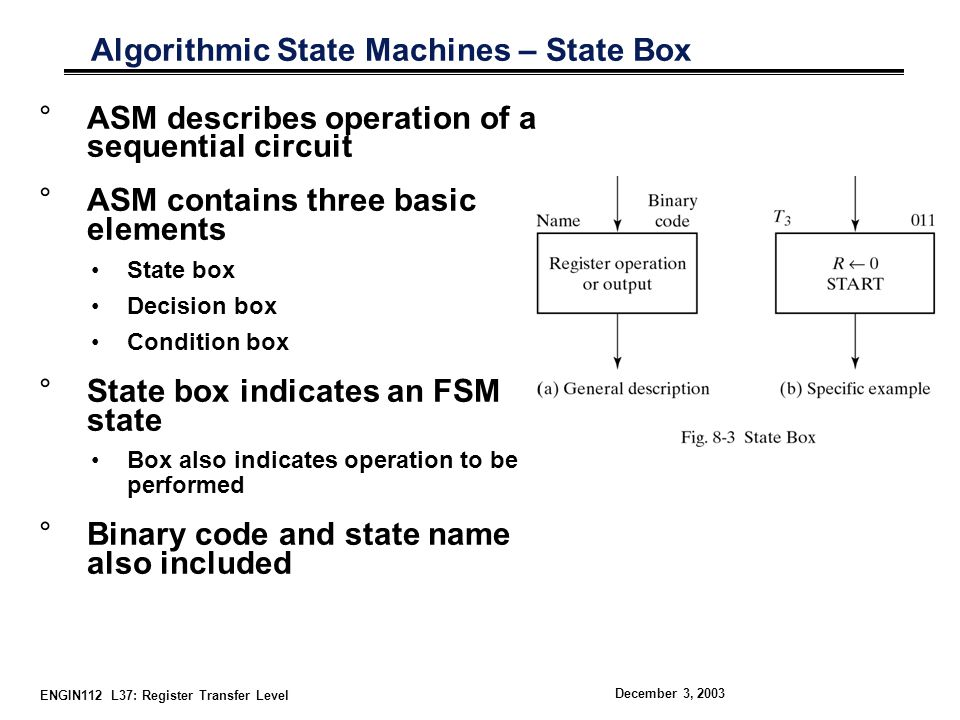 Algorithmic State Machines – State Box