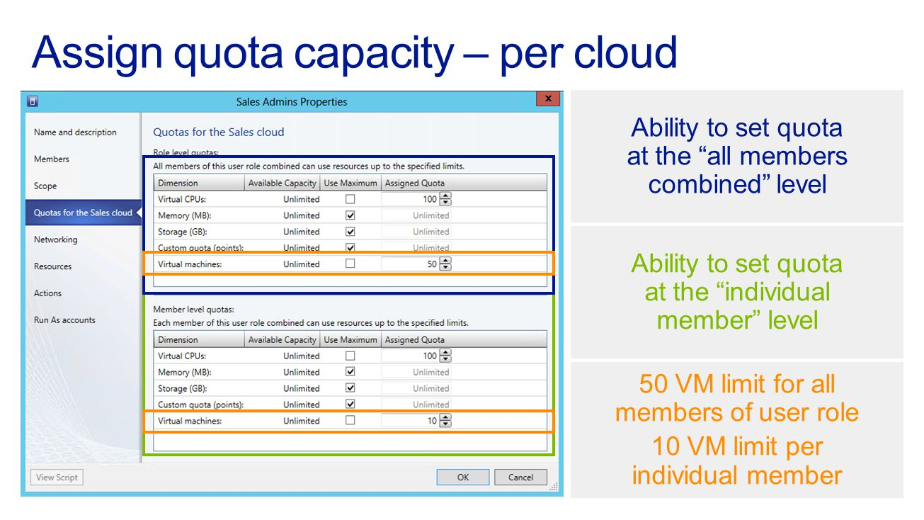 Assign quota capacity – per cloud