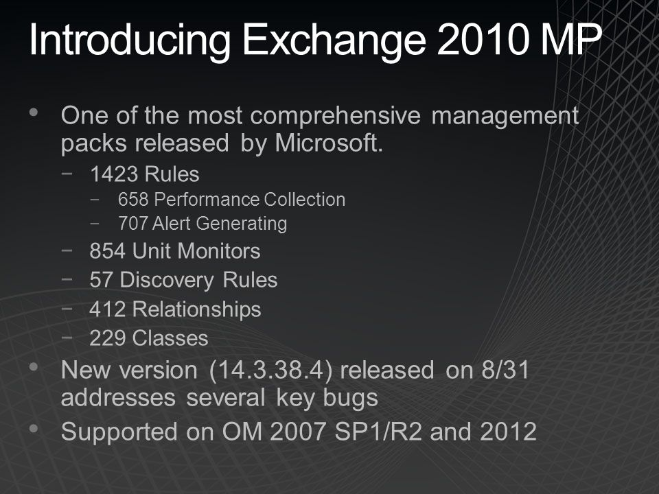 Monitoring Exchange 2010 with System Center Operations Manager - ppt