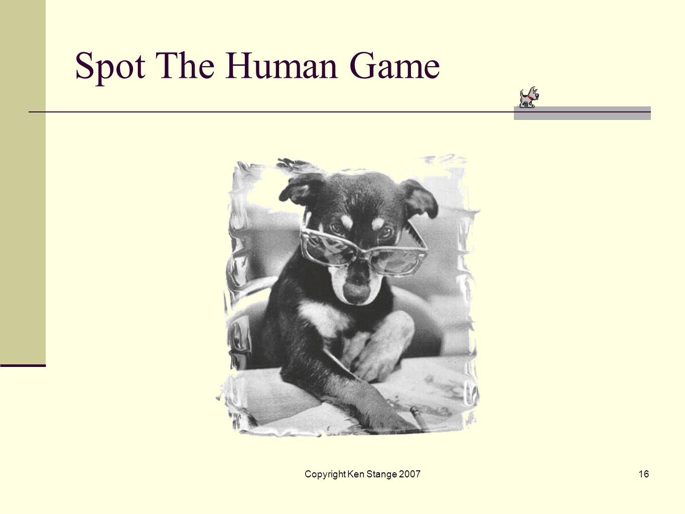 Spot The Human Game Copyright Ken Stange