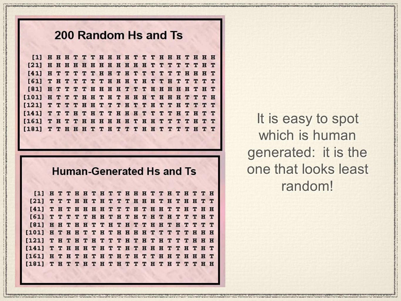 It is easy to spot which is human generated: it is the one that looks least random!