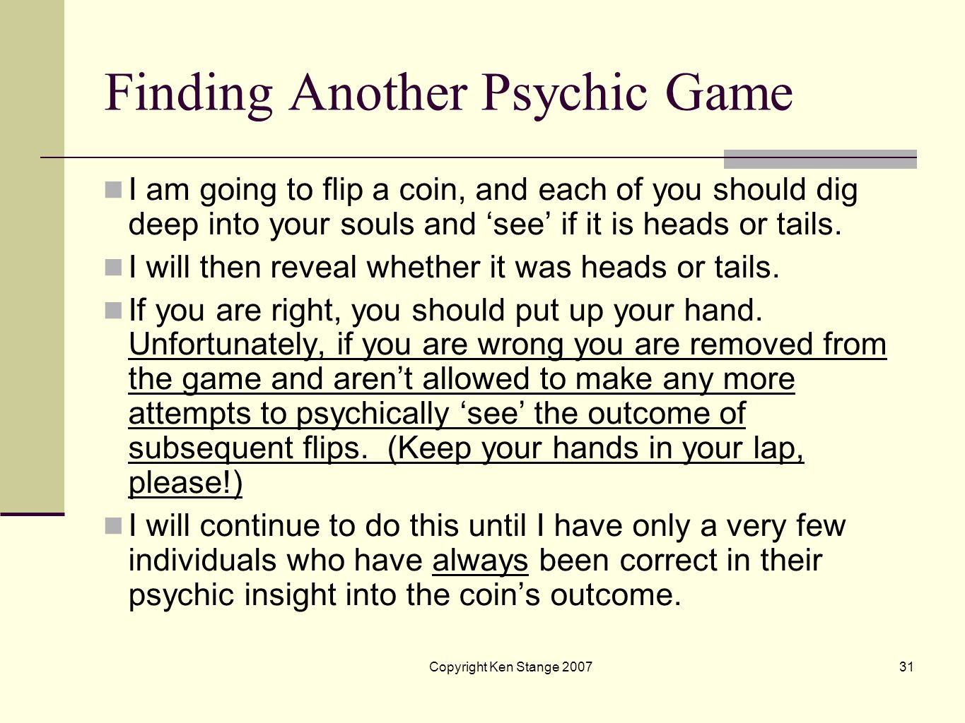 Finding Another Psychic Game