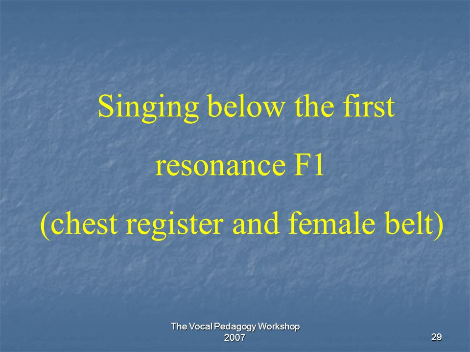 Singing below the first resonance F1