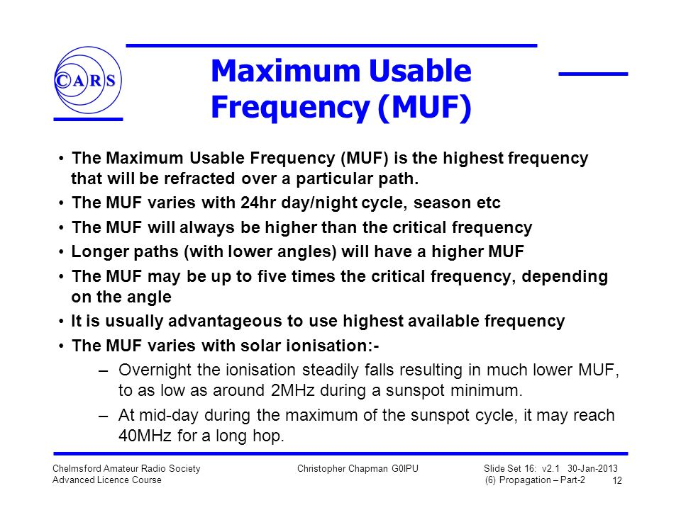 Maximum Usable Frequency (MUF)