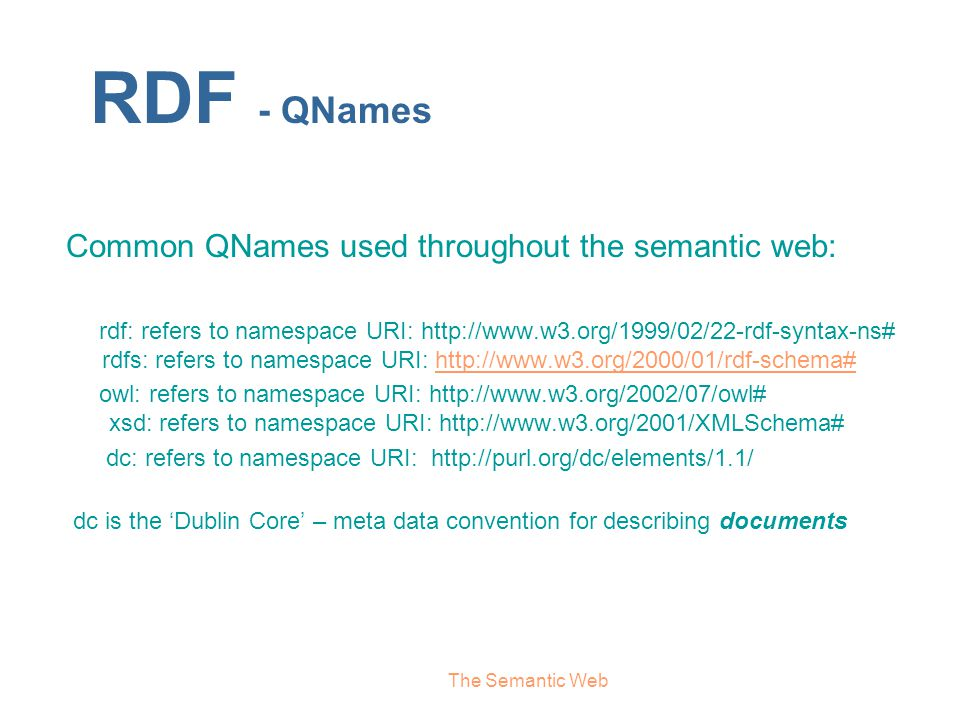 RDF - QNames Common QNames used throughout the semantic web:
