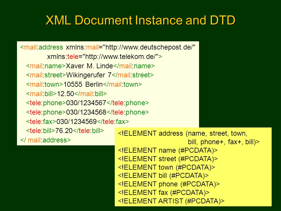 XML Document Instance and DTD