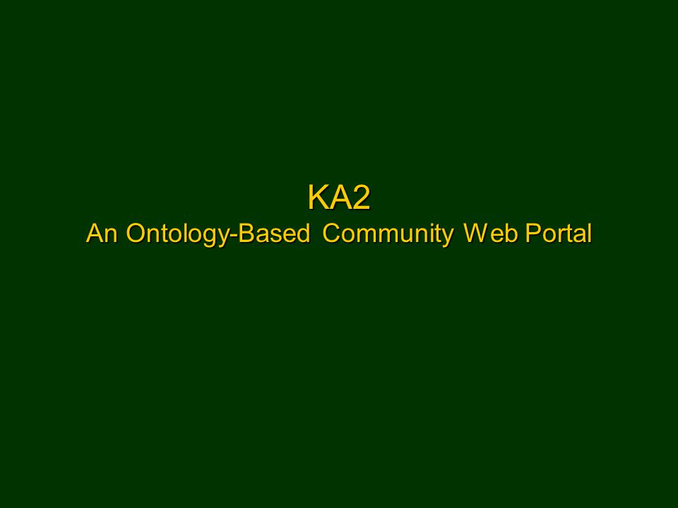 KA2 An Ontology-Based Community Web Portal
