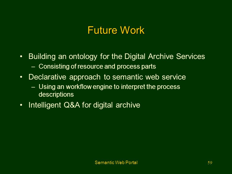 Future Work Building an ontology for the Digital Archive Services