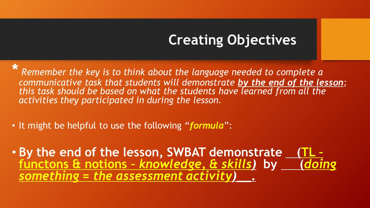 Creating Objectives