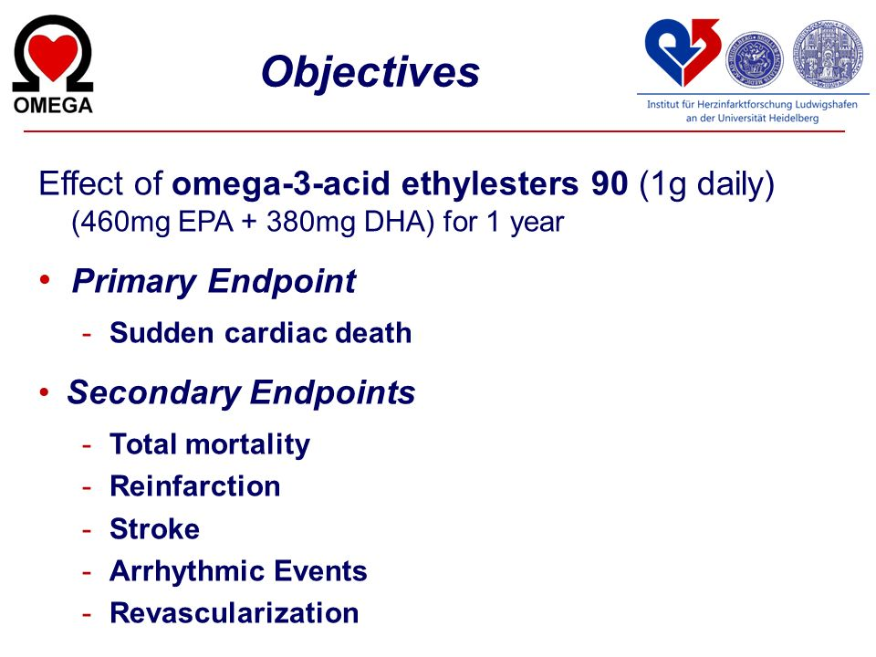Objectives Effect of omega-3-acid ethylesters 90 (1g daily) (460mg EPA + 380mg DHA) for 1 year. Primary Endpoint.