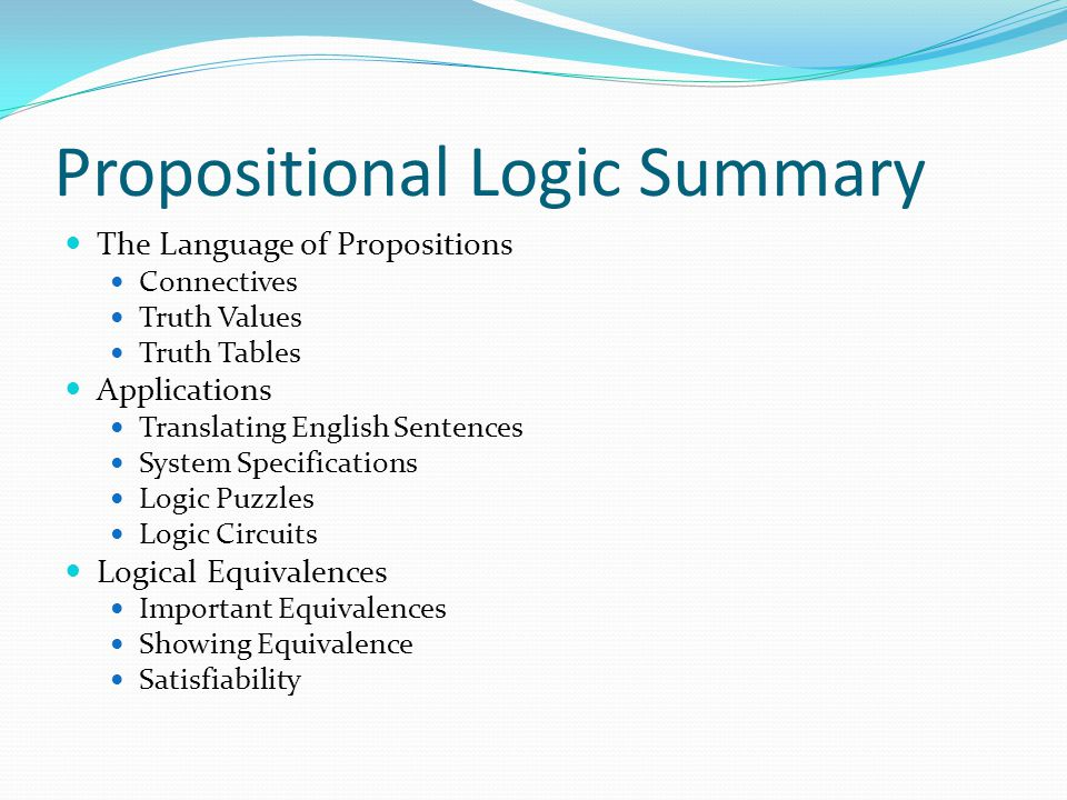 Propositional Logic Summary