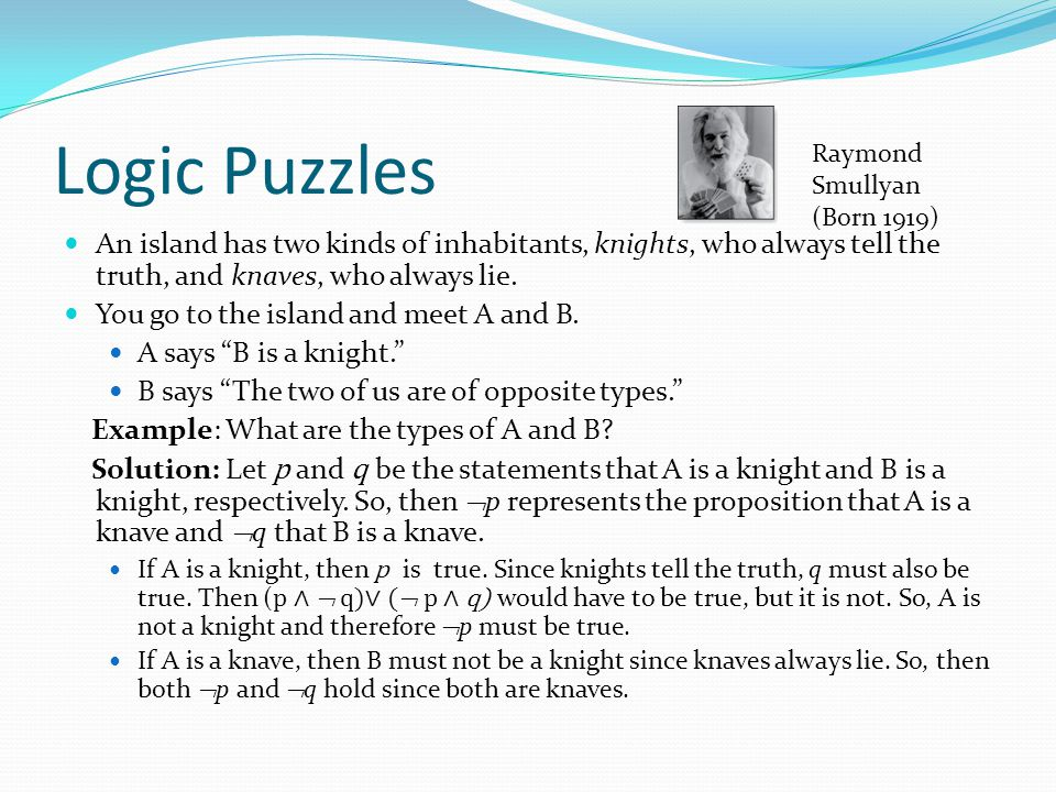 Logic Puzzles Raymond Smullyan. (Born 1919) An island has two kinds of inhabitants, knights, who always tell the truth, and knaves, who always lie.
