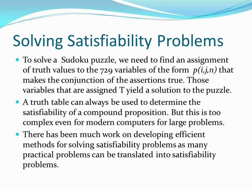 Solving Satisfiability Problems