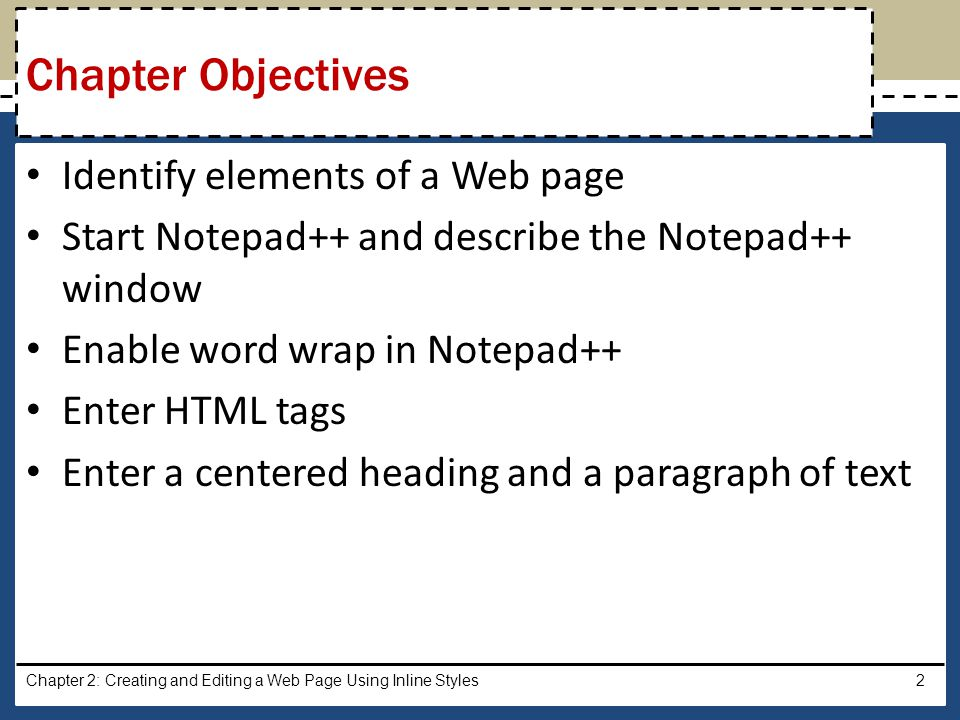 Chapter Objectives Identify elements of a Web page