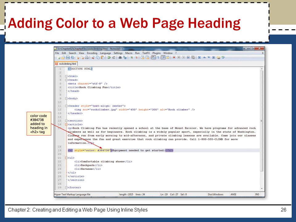 Adding Color to a Web Page Heading