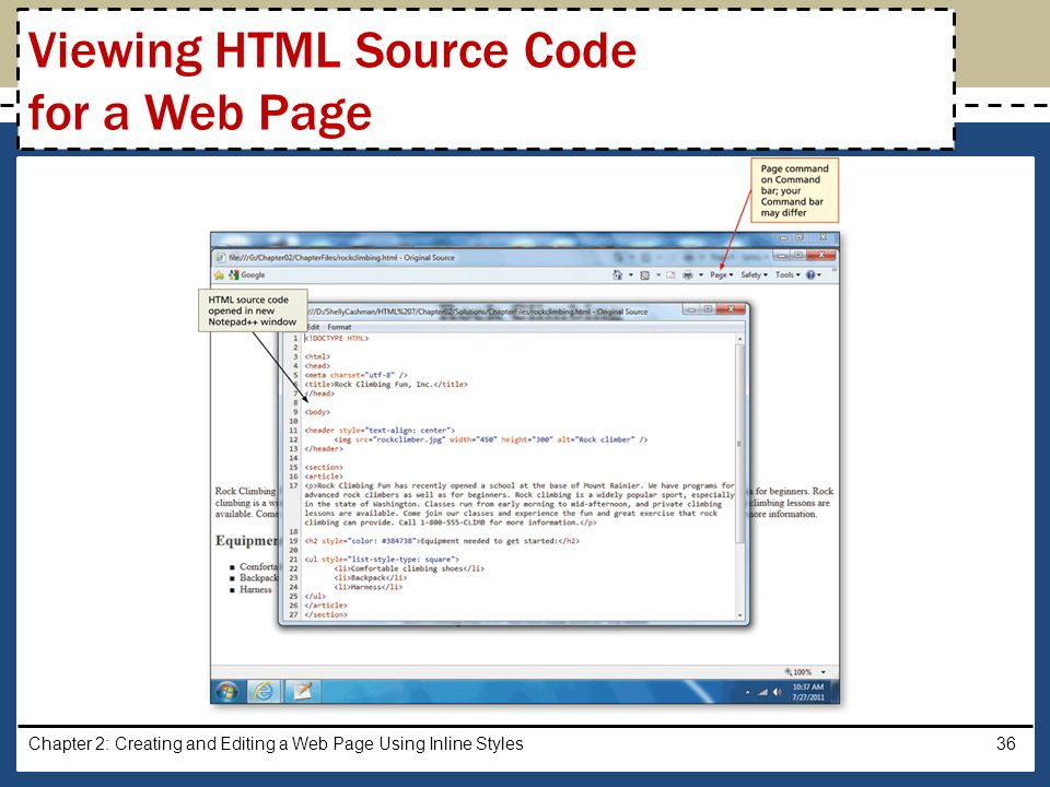 Viewing HTML Source Code for a Web Page