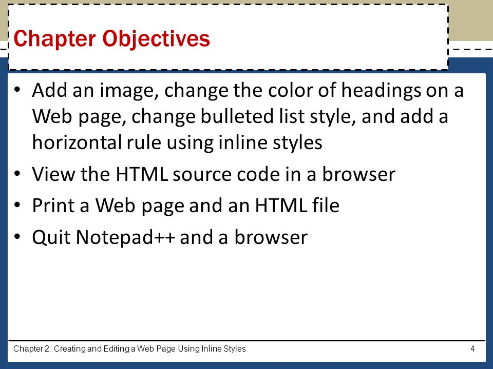 Creating and Editing a Web Page Using Inline Styles - ppt