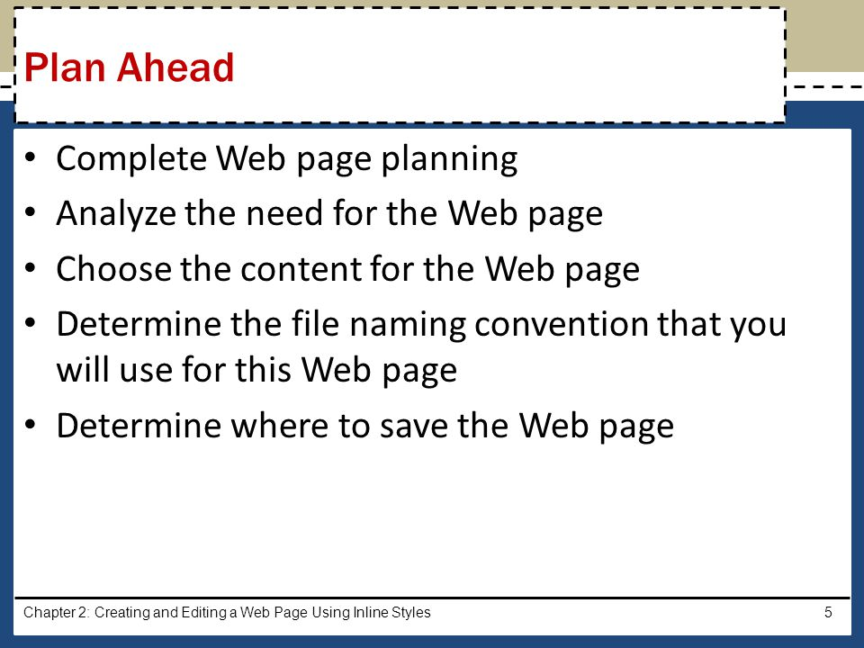 Plan Ahead Complete Web page planning