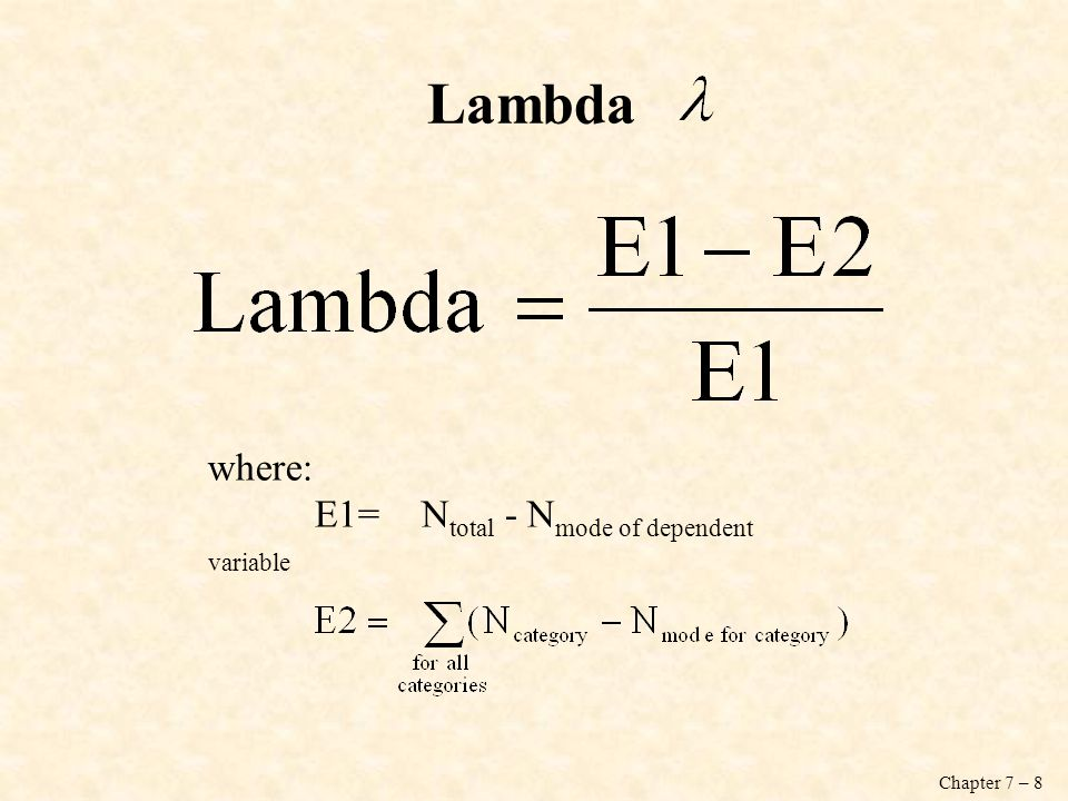 Lambda where: E1= Ntotal - Nmode of dependent variable