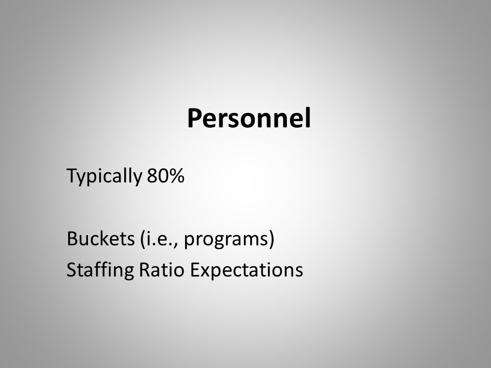 Typically 80% Buckets (i.e., programs) Staffing Ratio Expectations
