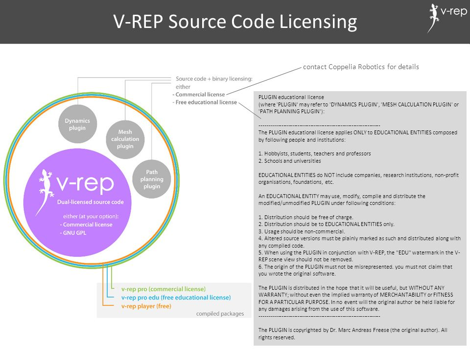 V-REP Source Code Licensing