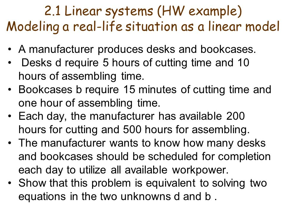 2.1 Linear systems (HW example)