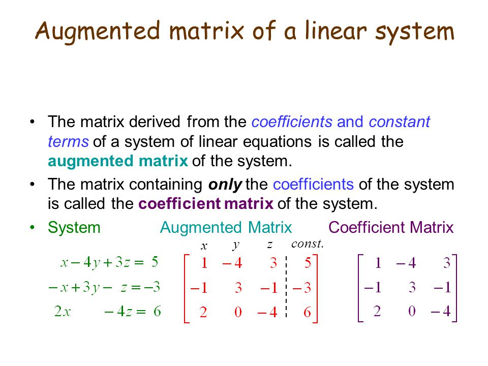 Augmented matrix of a linear system