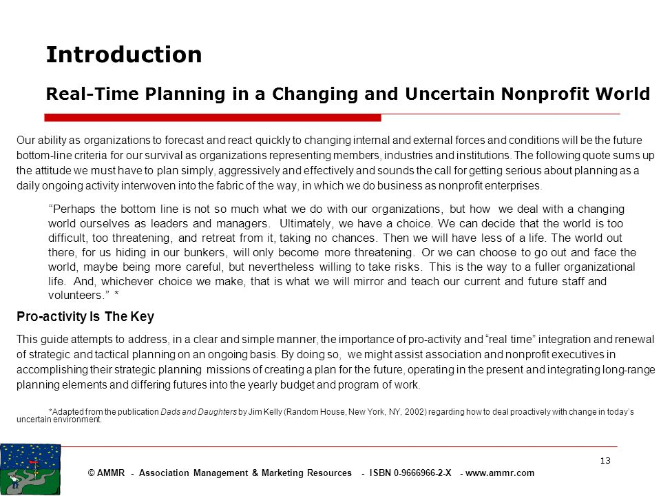Introduction Real-Time Planning in a Changing and Uncertain Nonprofit World