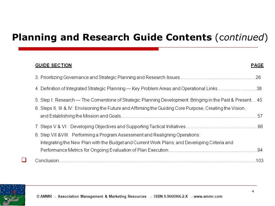 Planning and Research Guide Contents (continued)