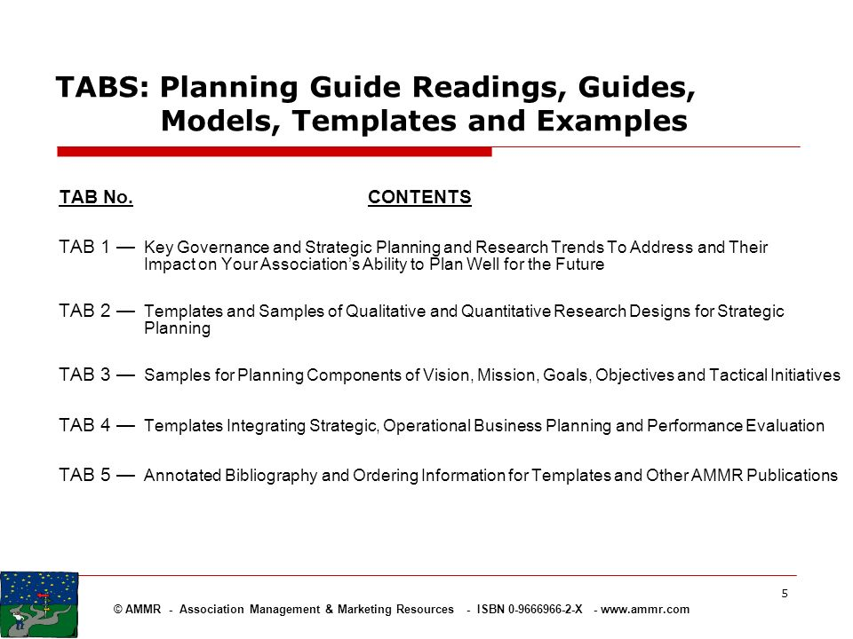 TABS: Planning Guide Readings, Guides, Models, Templates and Examples