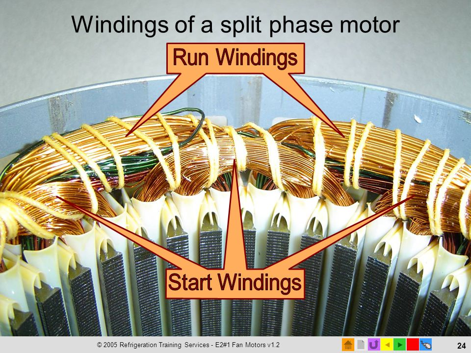 Windings of a split phase motor