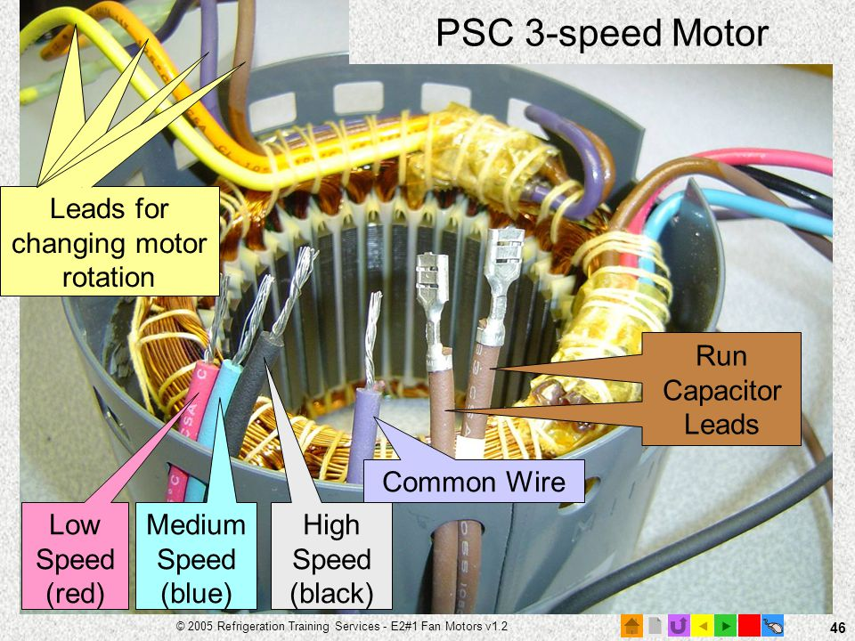 PSC 3-speed Motor Leads for changing motor rotation Run