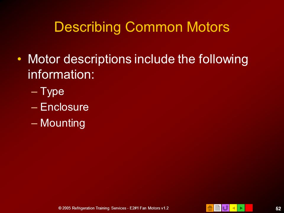 Describing Common Motors