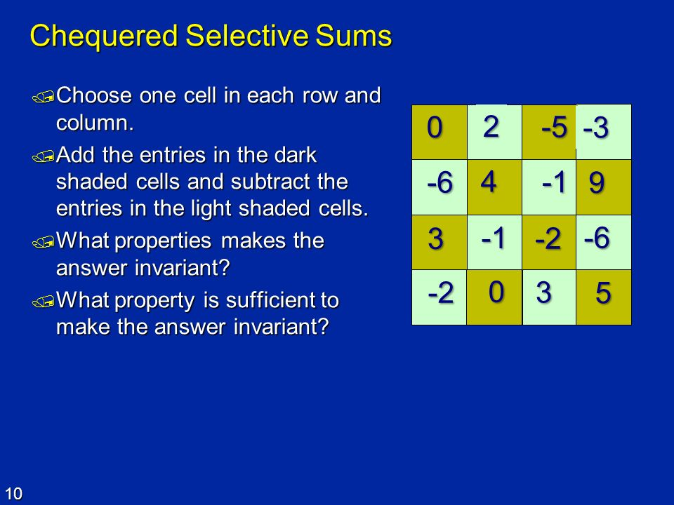 Chequered Selective Sums