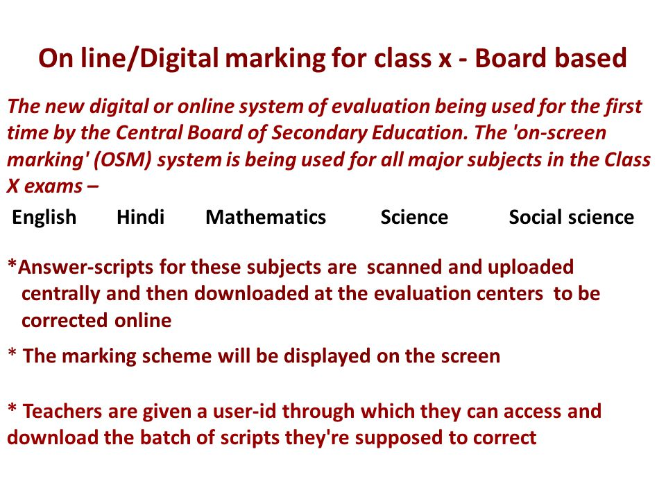 On line/Digital marking for class x - Board based