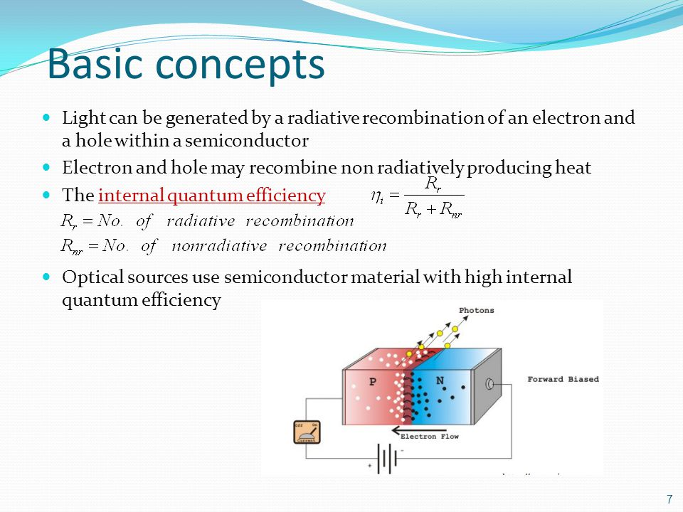 Basic concepts Light can be generated by a radiative recombination of an electron and a hole within a semiconductor.