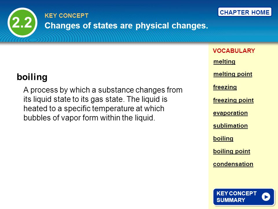 2.2 boiling Changes of states are physical changes.