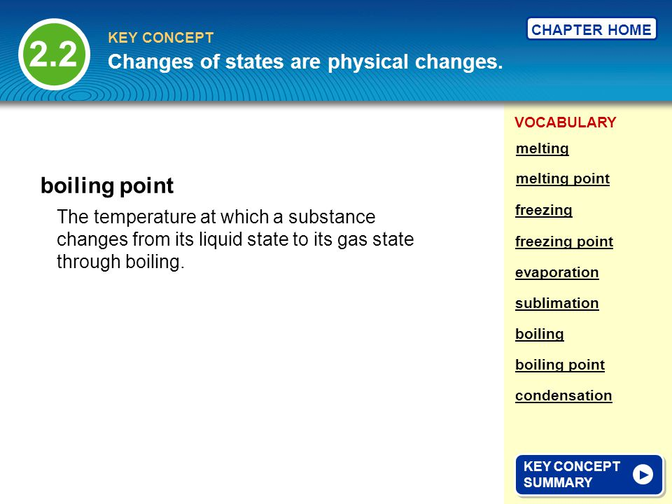 2.2 boiling point Changes of states are physical changes.