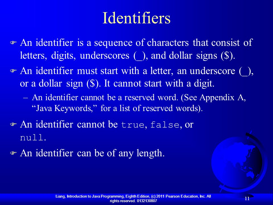 Identifiers An identifier is a sequence of characters that consist of letters, digits, underscores (_), and dollar signs ($).