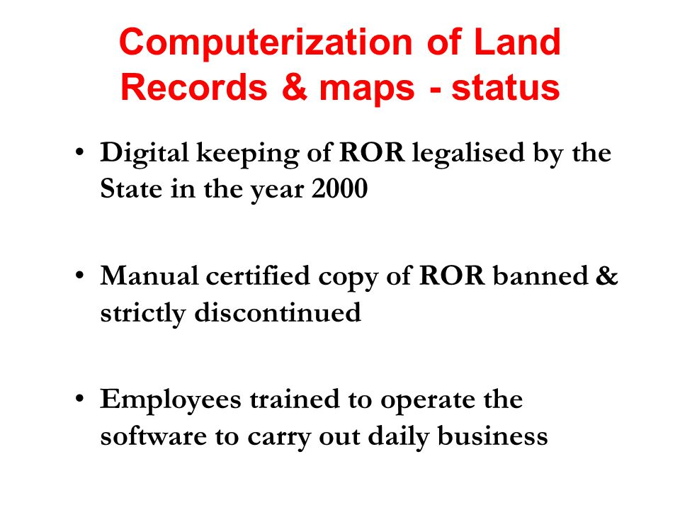 Digitization of cadastral maps, its integration with computerized