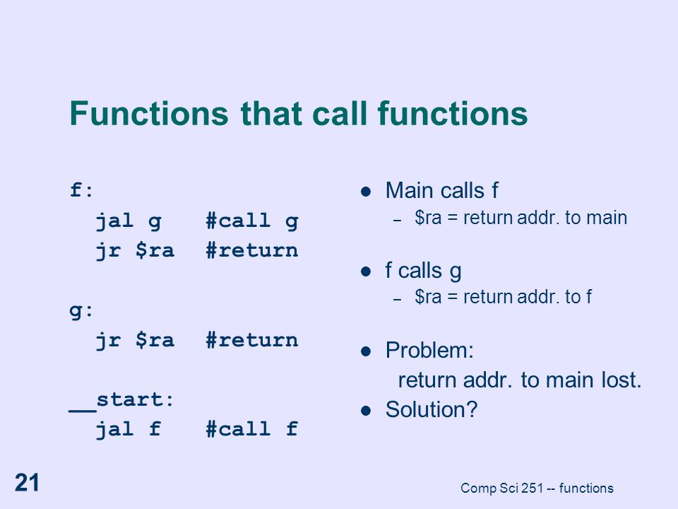 Functions that call functions