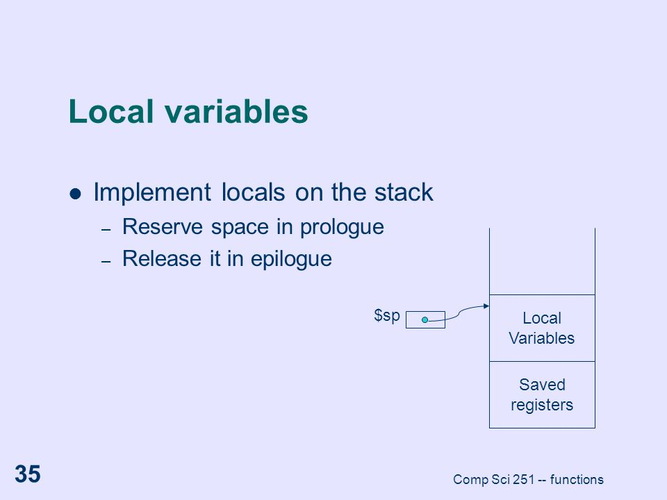 Local variables Implement locals on the stack